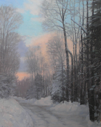 Winter Evening, Ridgewood Road-oil-panel-16x20 copy